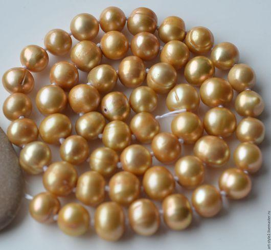 Для украшений ручной работы. Ярмарка Мастеров - ручная работа. Купить Жемчуг натуральный, золотой, 8-9 мм. Handmade.