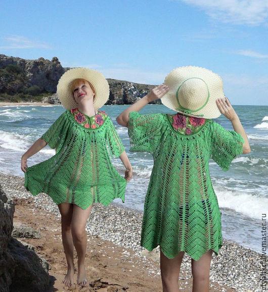 """Пляжные платья ручной работы. Ярмарка Мастеров - ручная работа. Купить Вязаное платье """"Королева пляжа"""". Handmade. Ярко-зелёный"""
