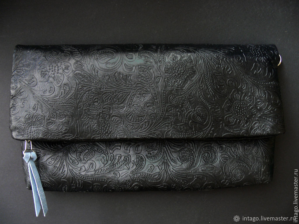 Clutch 'Russian style. Khokhloma' black leather, Clutches, Novosibirsk,  Фото №1