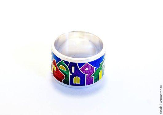 Кольца ручной работы. Ярмарка Мастеров - ручная работа. Купить Серебряное кольцо с эмалью - Бурано. Handmade. Комбинированный, подарок женщине