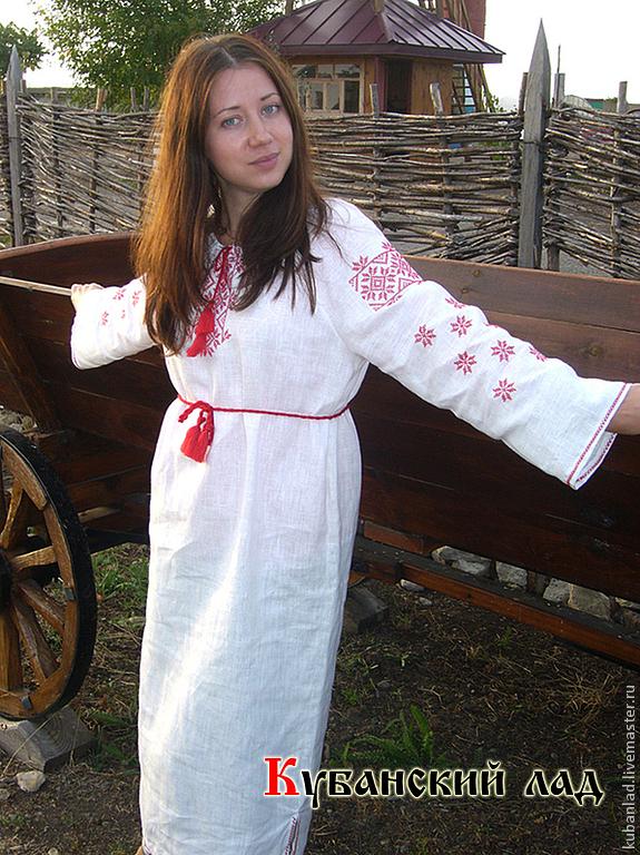 Платье с узорами славянскими