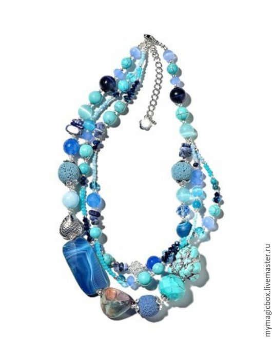 Колье, бусы ручной работы. Ярмарка Мастеров - ручная работа. Купить Колье из полудрагоценных камней. Handmade. Голубой, синий цвет