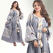 Одежда handmade. Livemaster - original item Linen Long Boho Dress with Embroidery. Embroidery. Large size. Handmade.
