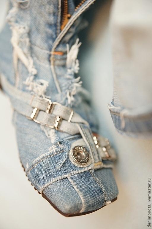 """Обувь ручной работы. Ярмарка Мастеров - ручная работа. Купить Сапоги """"Листопад"""" джинсовые. Handmade. Голубой, распродажа"""