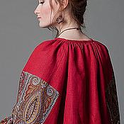Русский стиль handmade. Livemaster - original item Shirt Pavlovo Posad red linen straight women`s polecamy. Handmade.