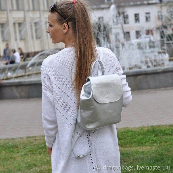 Backpacks handmade. Livemaster - handmade. Buy Backpack leather female 'Oliver' (Silver).Backpack, women's backpack leather, metal hardware