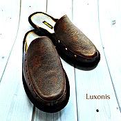 """Обувь ручной работы. Ярмарка Мастеров - ручная работа Тапочки мужские кожаные """"Брутал"""" на плоской подошве. Handmade."""