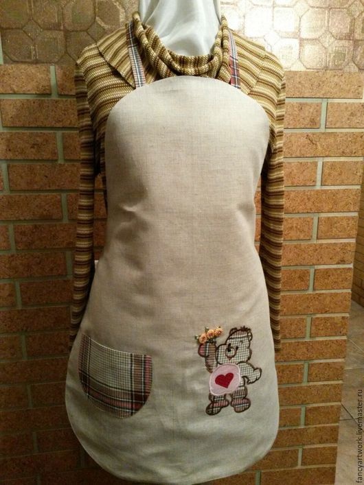 """Кухня ручной работы. Ярмарка Мастеров - ручная работа. Купить Фартук """"Мишка"""". Handmade. Бежевый, кулинария, 8 марта, лён"""
