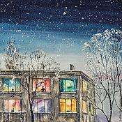 Картины и панно ручной работы. Ярмарка Мастеров - ручная работа Космическая зима. Картина акварелью. Handmade.