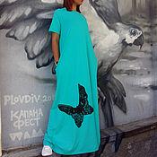 Одежда ручной работы. Ярмарка Мастеров - ручная работа Бирюзовое платье в пол. Handmade.