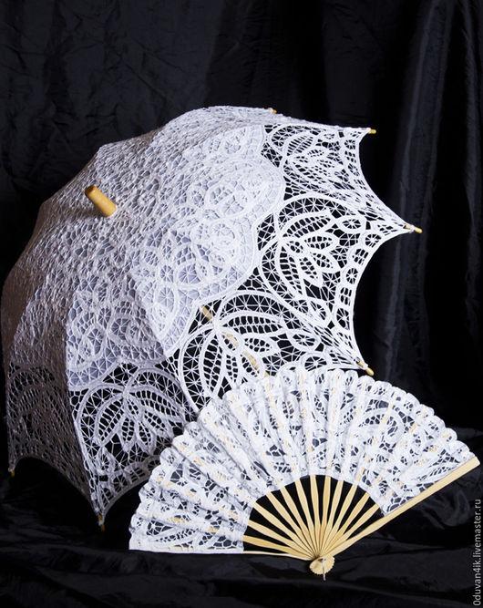 Одежда и аксессуары ручной работы. Ярмарка Мастеров - ручная работа. Купить Комплект(зонт+веер). Handmade. Белый, веер, свадьба, свадебные аксессуары