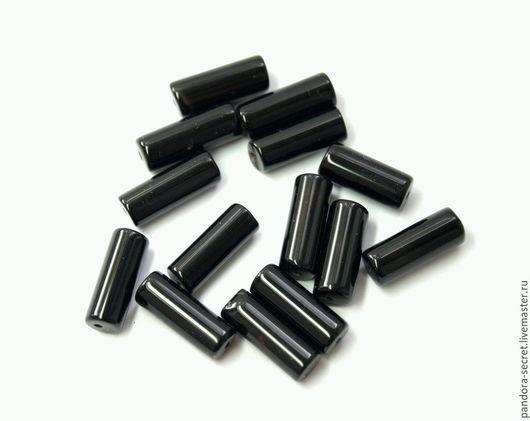 Для украшений ручной работы. Ярмарка Мастеров - ручная работа. Купить Черный агат гладкие трубочки, бусина цилиндр трубочка гладкая. Handmade.