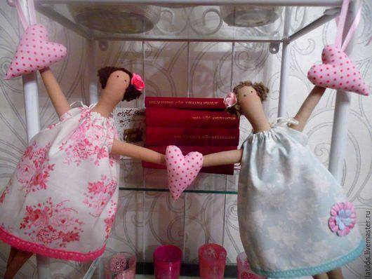 Куклы Тильды ручной работы. Ярмарка Мастеров - ручная работа. Купить Тильда- подружки - гирлянда для детской. Handmade. Розовый