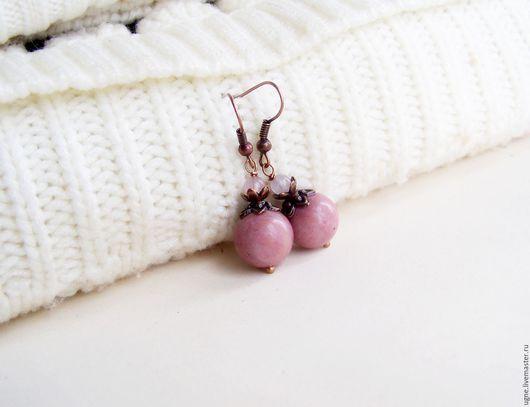 Серьги ручной работы. Ярмарка Мастеров - ручная работа. Купить Розовые серьги из камней нежо-розовый Элегантная Роза. Handmade.