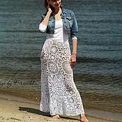 Одежда ручной работы. Ярмарка Мастеров - ручная работа Белая макси юбка из хлопка. Handmade.
