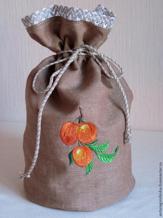 Льняной мешочек для хранения сухофруктов - `Абрикос-курага`