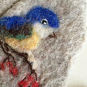 Работы для детей, ручной работы. Ярмарка Мастеров - ручная работа детские варежки   с синичкой из шерсти Альпаки, синица, вышитые,. Handmade.