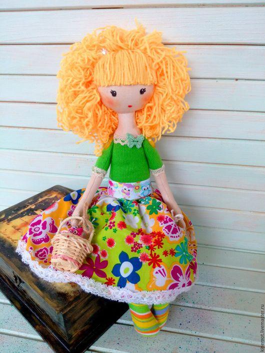 """Человечки ручной работы. Ярмарка Мастеров - ручная работа. Купить Кукла текстильная """"Принцесса Совушка"""". Handmade. Ярко-зелёный, синтепон"""