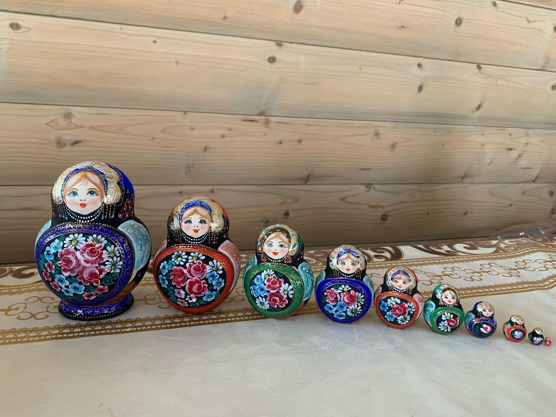 Матрешка с подносом Жостово - 10 местная, Матрешки, Сергиев Посад,  Фото №1