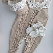 Работы для детей, ручной работы. Ярмарка Мастеров - ручная работа На заказ: вязаный комбинезон для новорожденной девочки. Handmade.