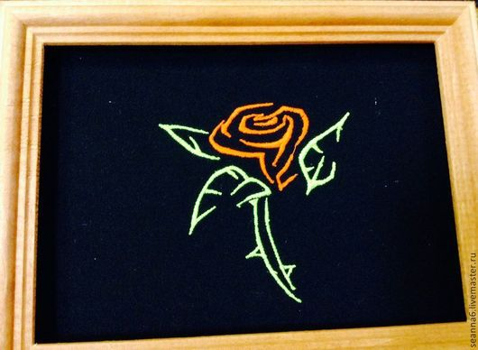 """Фэнтези ручной работы. Ярмарка Мастеров - ручная работа. Купить Вышитая картина, картинка, панно """"Роза с шипами тату"""" неоновыми нитями. Handmade."""
