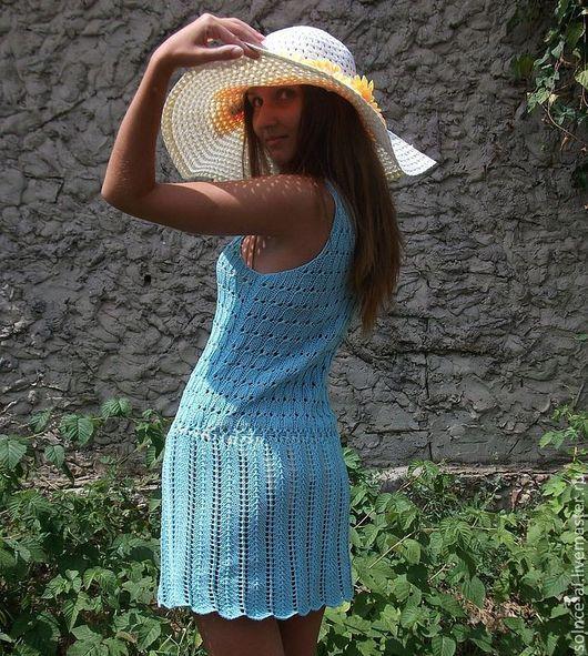 """Платья ручной работы. Ярмарка Мастеров - ручная работа. Купить Сарафан """"Пляжный сезон"""". Handmade. Бирюзовый, ажурный сарафан"""