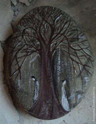 """Роспись по камню ручной работы. Ярмарка Мастеров - ручная работа. Купить камень """"Не встреча..."""". Handmade. Серый, галька"""