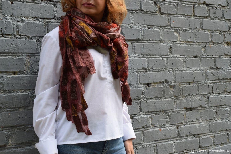 Chocolate felted scarf stole on natural silk handmade, Scarves, Krasnoyarsk,  Фото №1