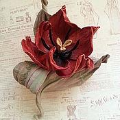 """Украшения ручной работы. Ярмарка Мастеров - ручная работа Цветы из кожи. Тюльпан  """"Танго"""". Handmade."""