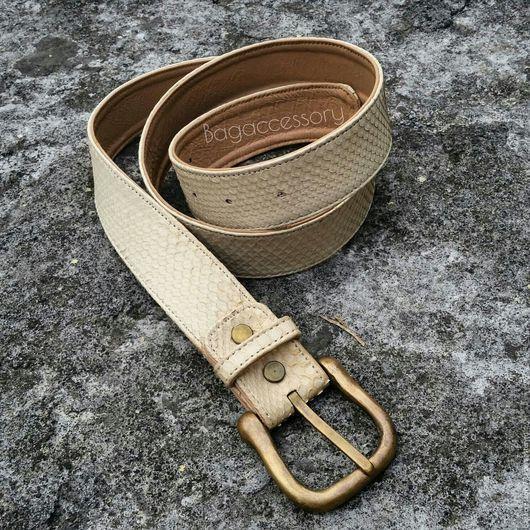 Пояса, ремни ручной работы. Ярмарка Мастеров - ручная работа. Купить Ремень из натуральной кожи питона. Handmade. Ремень