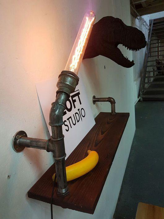 Мебель ручной работы. Ярмарка Мастеров - ручная работа. Купить Полка из водопроводной трубы с лампой Эдисона  в стиле loft. Handmade.