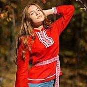 """Народные рубахи ручной работы. Ярмарка Мастеров - ручная работа Блуза из красного льна """"Славянка"""". Handmade."""