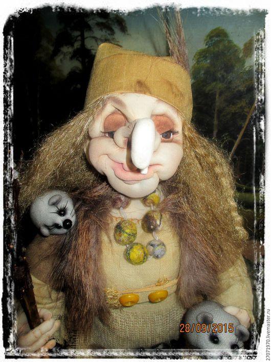Сказочные персонажи ручной работы. Ярмарка Мастеров - ручная работа. Купить интерьерная кукла Бабушка Яга. Handmade. Коричневый, капрон