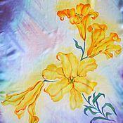 Аксессуары ручной работы. Ярмарка Мастеров - ручная работа Шарф Желтые лилии. Handmade.