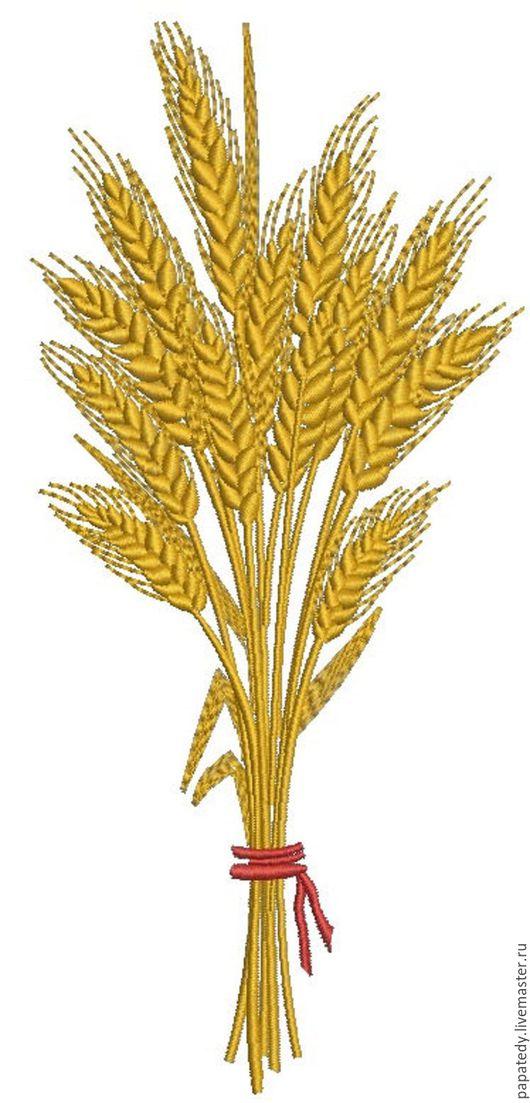Вышивка ручной работы. Ярмарка Мастеров - ручная работа. Купить три вида дизайнов сноп пшеничных колосьев и по отдельности. Handmade.