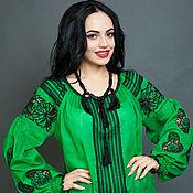 "Одежда ручной работы. Ярмарка Мастеров - ручная работа Вышиванка зелёная блуза ""Ажурное чудо"" ручная вышивка гладью. Handmade."