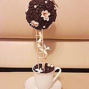 """Цветы и флористика ручной работы. Ярмарка Мастеров - ручная работа Кофейное деревце """"Бежевые розы""""!!!. Handmade."""