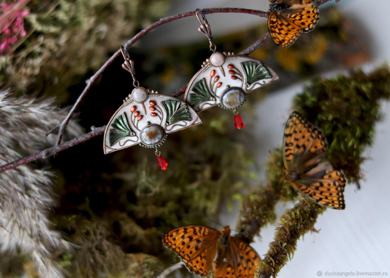 Earrings 'Modern' sculpture, miniature, Earrings, Vladimir,  Фото №1