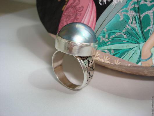 Кольца ручной работы. Ярмарка Мастеров - ручная работа. Купить Серебряное кольцо с пузырьковым жемчугом. Handmade. Голубой, крупное кольцо