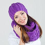 """Аксессуары ручной работы. Ярмарка Мастеров - ручная работа """"Фуксия"""", комплект вязаный женский, шарф снуд вязаный и шапка вязаная. Handmade."""
