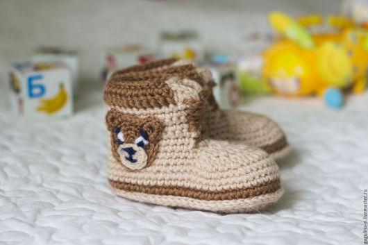 Для новорожденных, ручной работы. Ярмарка Мастеров - ручная работа. Купить Пинетки Ботинки Тимберленды с мишками. Handmade. Бежевый
