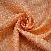 Материалы для творчества ручной работы. Ярмарка Мастеров - ручная работа Лён 100% оранжевый в полоску. Handmade.