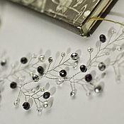 Свадебный салон handmade. Livemaster - original item Black and white wreath for hair, wedding sprig. Handmade.