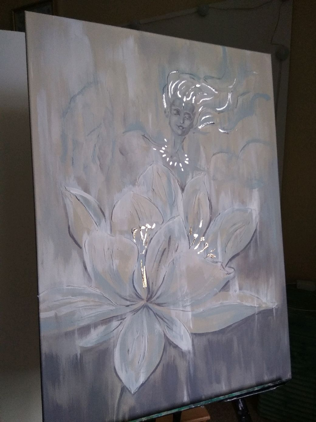 Interior painting with silver and gold leaf 'the Lotus and the Dewdrop', Pictures, Obninsk,  Фото №1