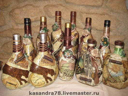 Подарочное оформление бутылок ручной работы. Ярмарка Мастеров - ручная работа. Купить Подарочное оформление бутылок. Handmade. Подарок мужчине