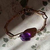 Украшения handmade. Livemaster - original item Bracelet with amethyst, 925 sterling silver, plating 14karat. Handmade.