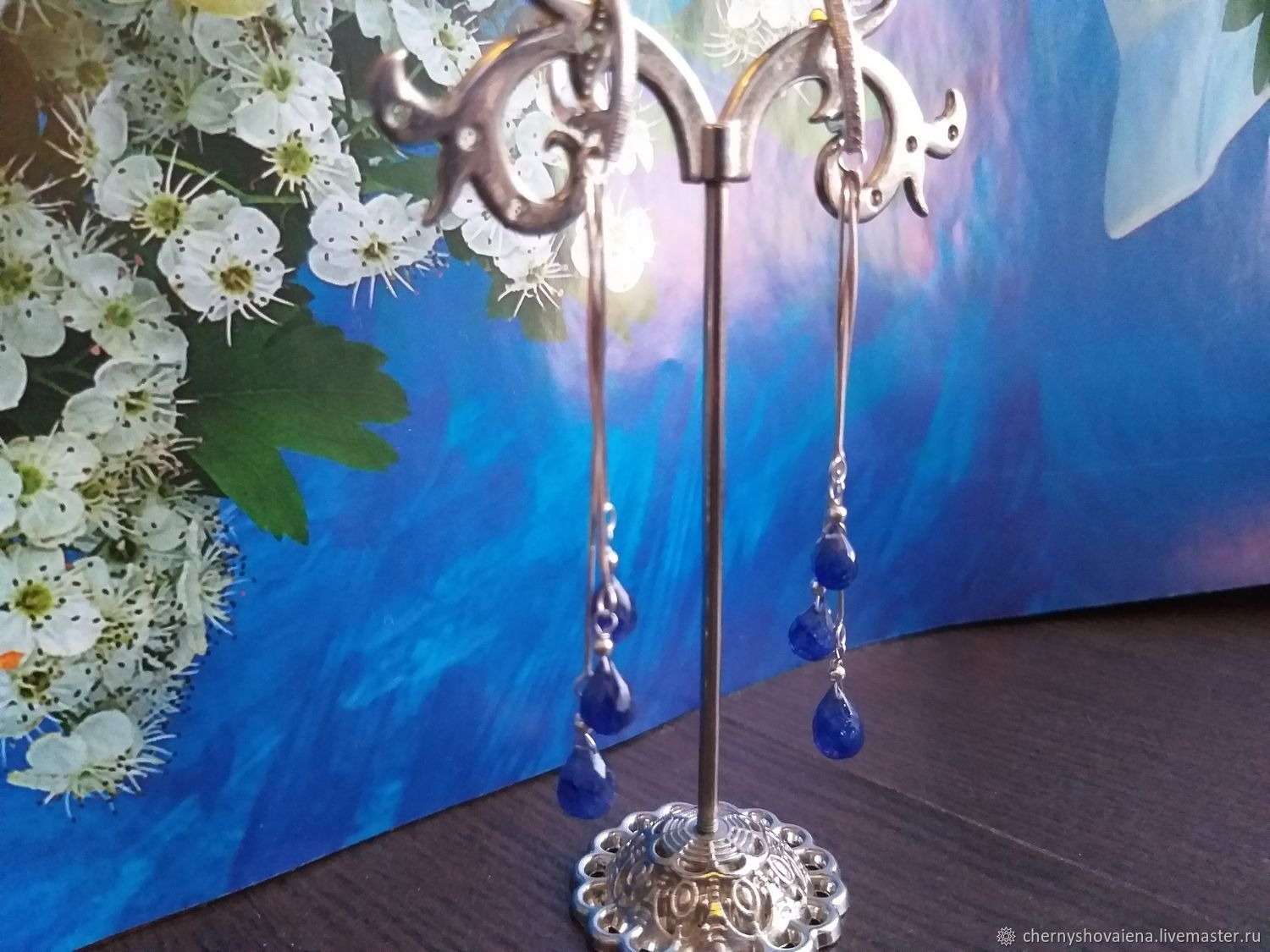 Silver and sapphire earrings, Earrings, Moscow,  Фото №1