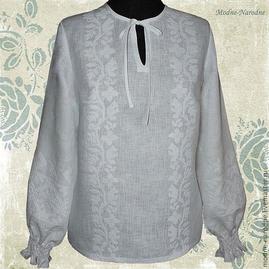 Льняная блуза с ручной вышивкой Нежная-Белоснежная 2.\r\nТворческое ателье Modne-Narodne. Модная одежда с ручной вышивкой.