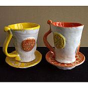 Кружки ручной работы. Ярмарка Мастеров - ручная работа Апельсин и Лимон - кофейные пары. Handmade.