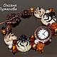 `Паучки` часы браслет наручные женские из камней и стекла